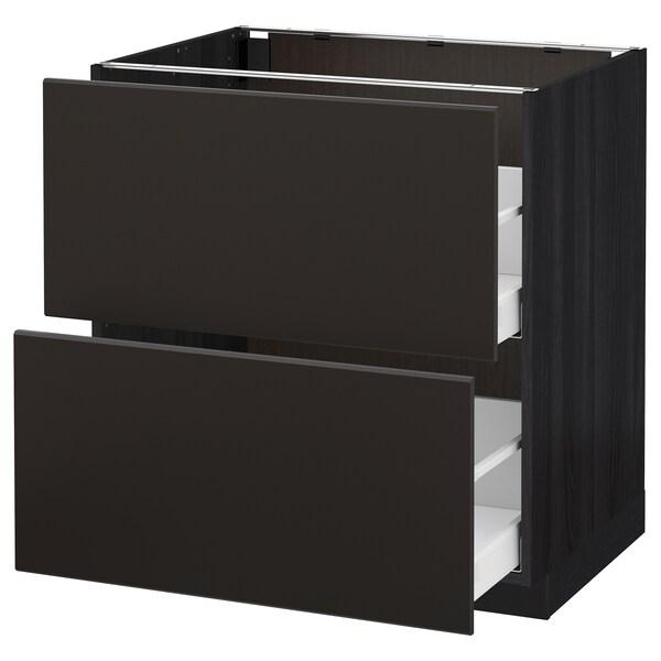 METOD / MAXIMERA armario bajo cocina 2 cajones negro/Kungsbacka antracita 80.0 cm 61.6 cm 88.0 cm 60.0 cm 80.0 cm