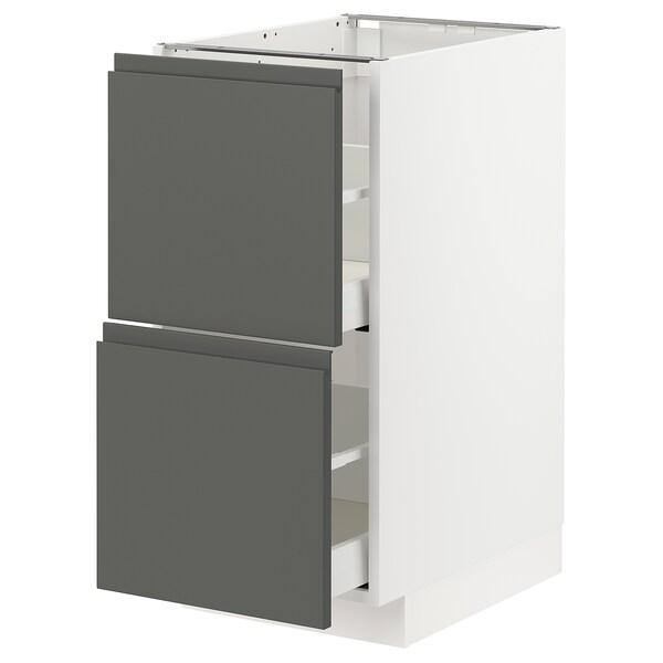 METOD / MAXIMERA armario bajo cocina 2 cajones blanco/Voxtorp gris oscuro 40.0 cm 62.1 cm 88.0 cm 60.0 cm 80.0 cm