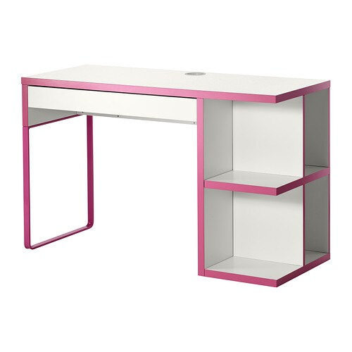 Micke escritorio almacenaje integrado blanco rosa ikea - Ikea escritorio blanco ...