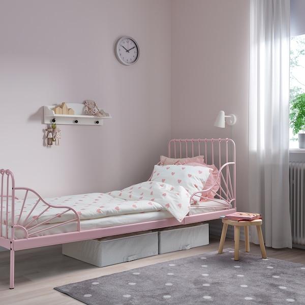 MINNEN Estruc cama extens+somier láminas, rosa claro, 80x200 cm