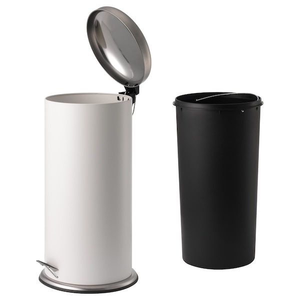 MJÖSA Cubo de basura pedal, blanco, 30 l