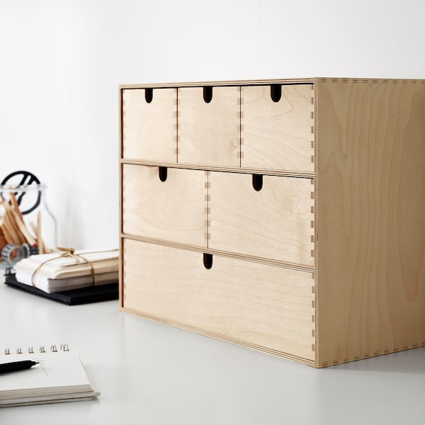 MOPPE Minicómoda, contrachapado abedul, 42x18x32 cm