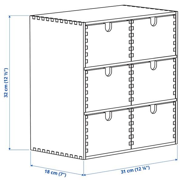 MOPPE Minicómoda, contrachapado abedul, 31x18x32 cm