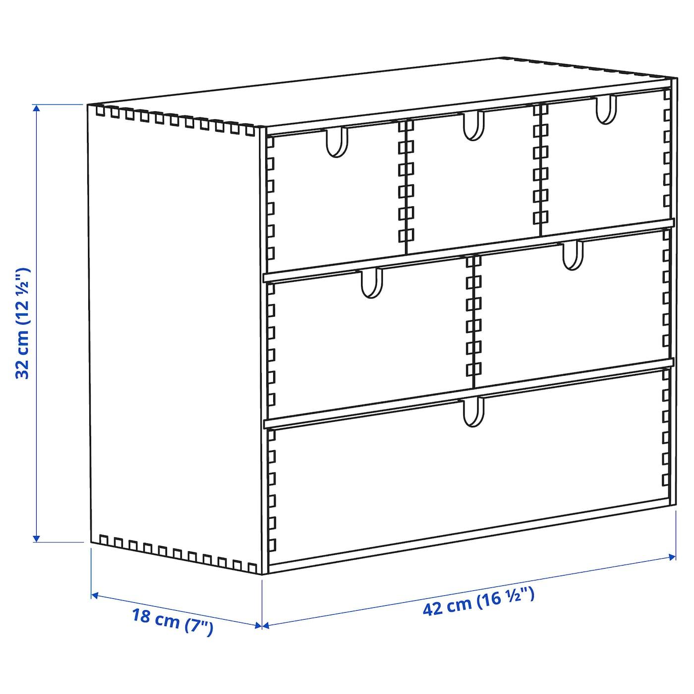 MOPPE Minicómoda contrachapado abedul 42x18x32 cm