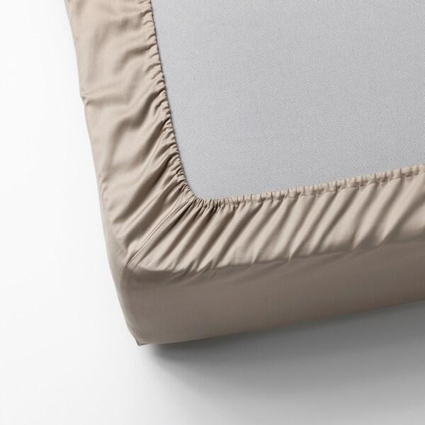NATTJASMIN Sábana bajera ajustable, beige claro, 160x200 cm