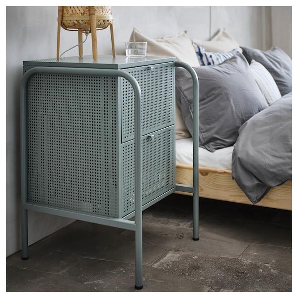 NIKKEBY cómoda de 2 cajones verde grisáceo 46 cm 49 cm 70 cm 34.0 cm 35.5 cm 17.5 cm
