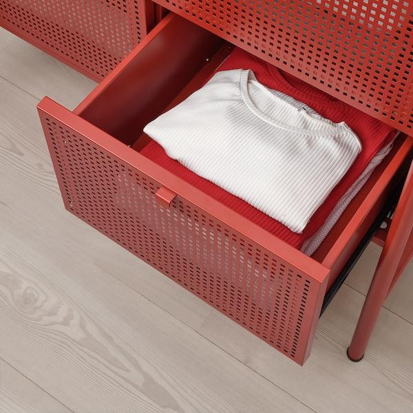 NIKKEBY Cómoda de 4 cajones, rojo, 84x70 cm