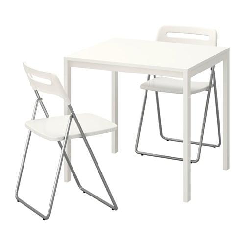 Nisse Melltorp Mesa 2 Sillas Plegables Blanco Blanco 75 Cm Ikea