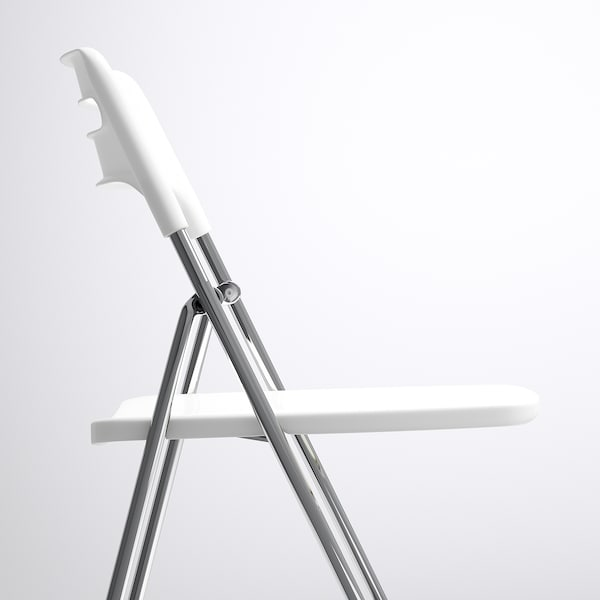 NISSE Silla plegable, alto brillo blanco/cromado