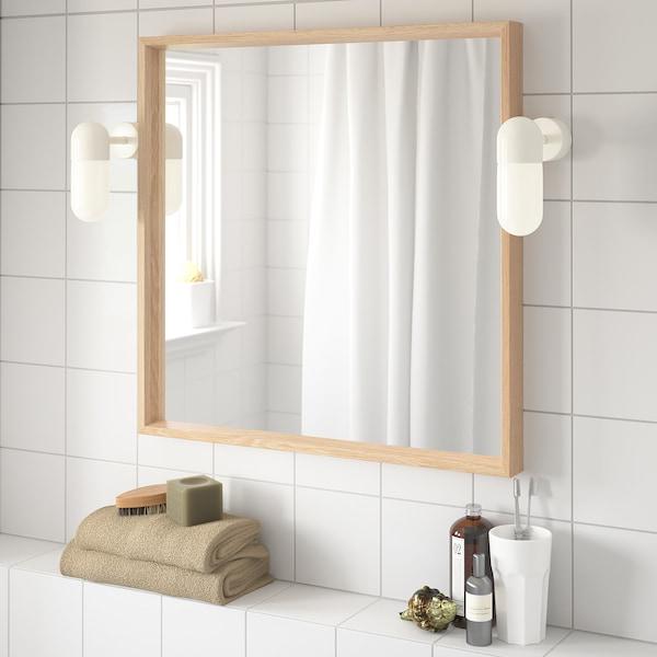NISSEDAL Espejo, efecto roble tinte blanco, 65x65 cm