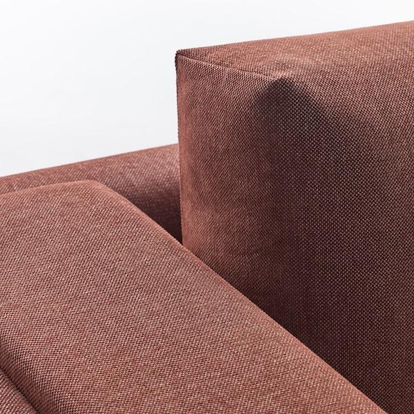 NOCKEBY Sofá 3 plazas, con chaiselongue izda/Tallmyra óxido/madera