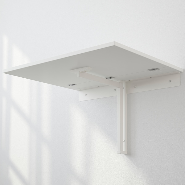 NORBERG Mesa plegable de pared, blanco, 74x60 cm