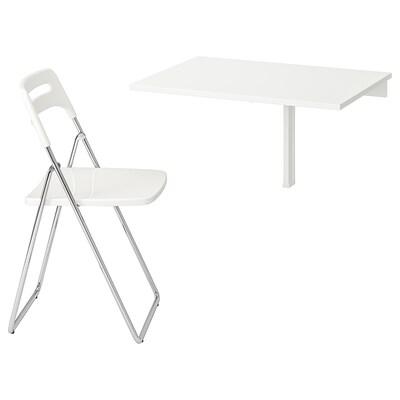 NORBERG / NISSE Mesa+1 silla, blanco/cromado blanco, 74 cm