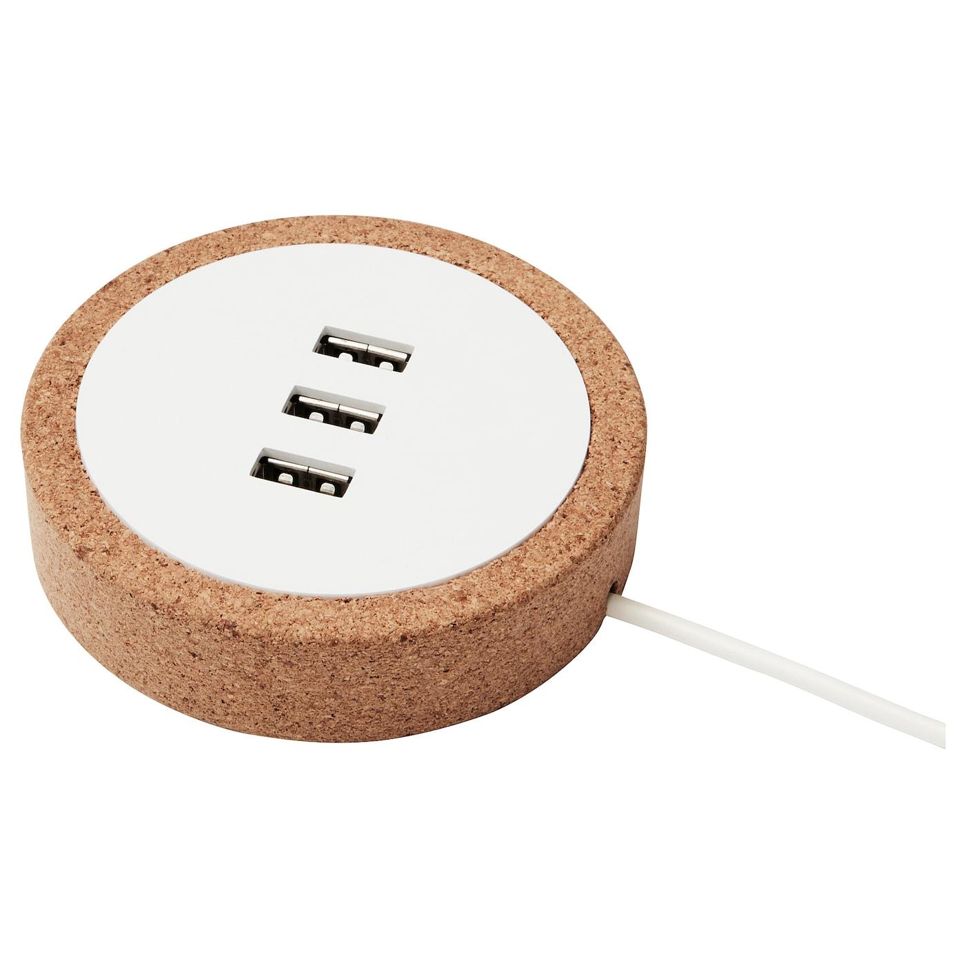 NORDMÄRKE Cargador USB - blanco, corcho - IKEA