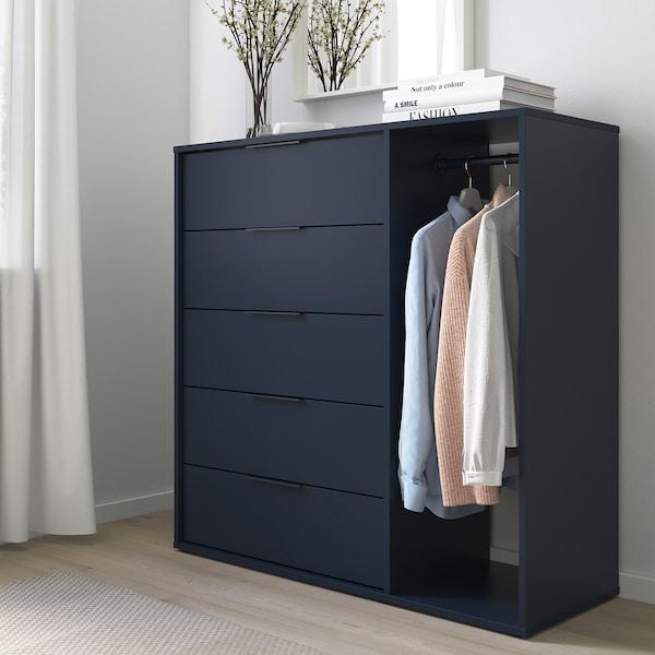 NORDMELA Cómoda con barra, negro-azul, 119x118 cm