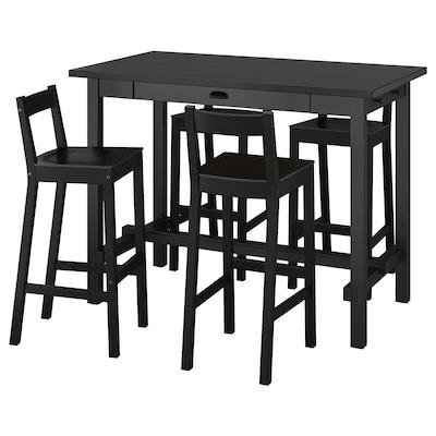 NORDVIKEN / NORDVIKEN Barra y 4 taburetes, negro/negro