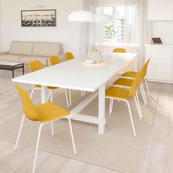 NORDVIKEN / LEIFARNE Mesa y 6 sillas, blanco/amarillo oscuro blanco, 210/289x105 cm