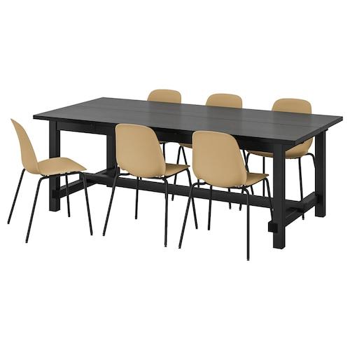 NORDVIKEN / LEIFARNE mesa y 6 sillas negro/verde oliva claro negro 210 cm 289 cm 105 cm