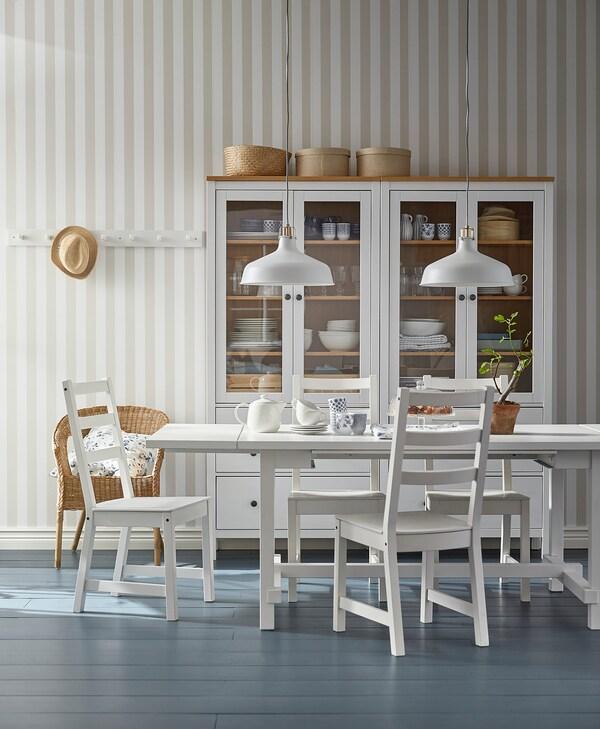 NORDVIKEN / NORDVIKEN Mesa y 6 sillas, blanco/blanco, 210/289x105 cm