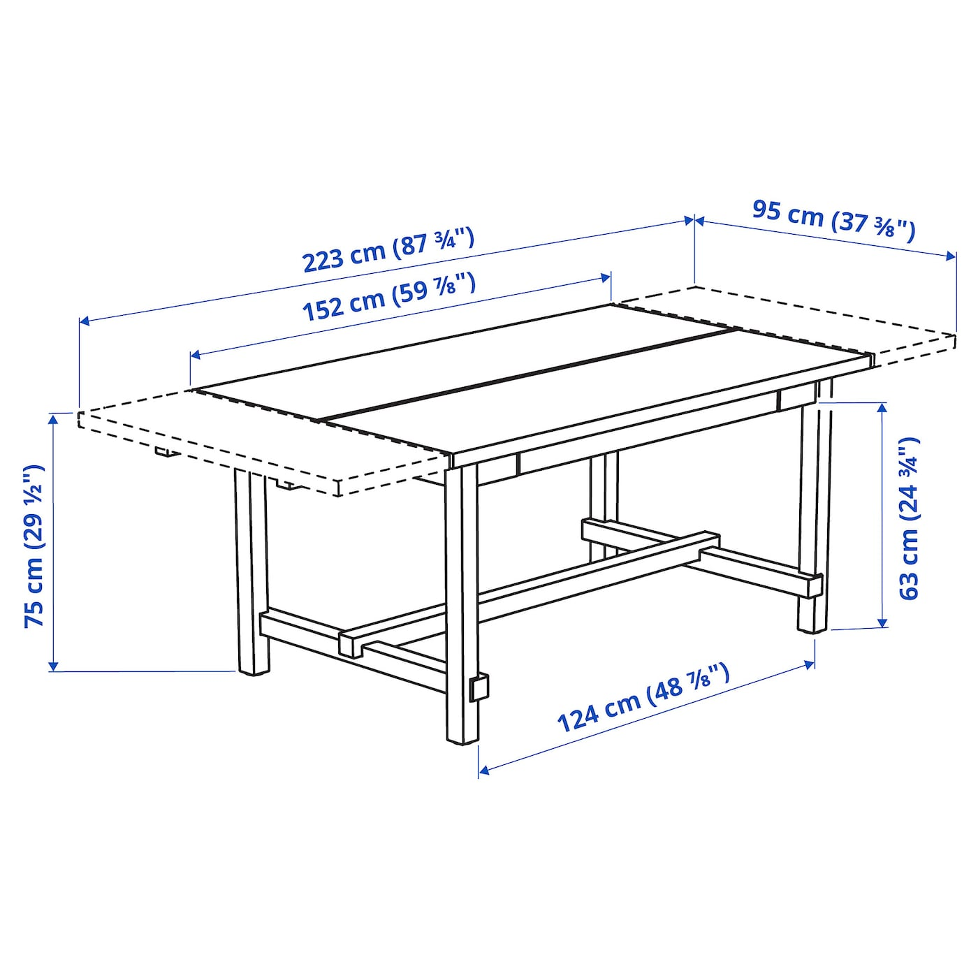 NORDVIKEN Mesa extensible - tint envj 152/223x95 cm