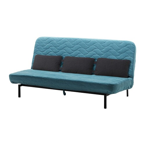 Nyhamn sof cama con 3 cojines con colch n de espuma borred verde azul ikea - Colchon para sofa cama ...