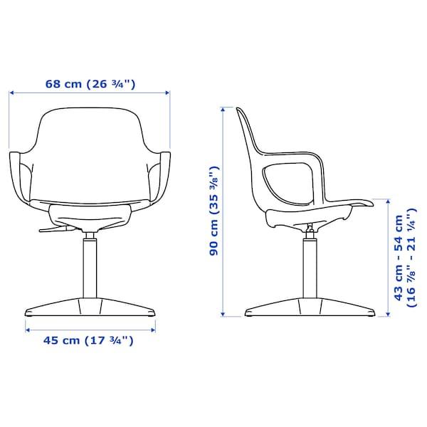 ODGER silla giratoria antracita 110 kg 68 cm 68 cm 90 cm 45 cm 45 cm 43 cm 54 cm