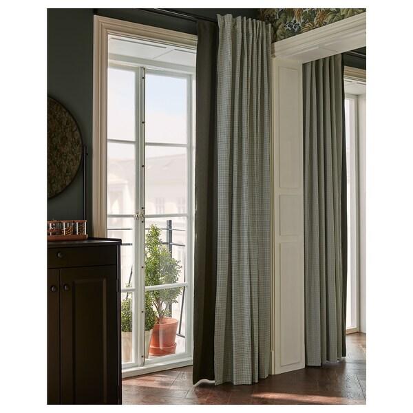 ORDENSFLY Cortina, 1par, blanco/gris oscuro, 145x300 cm