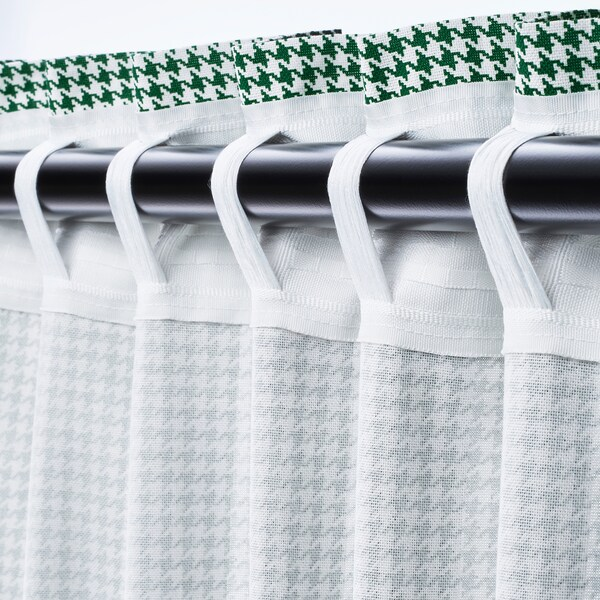 ORDENSFLY Cortina, 1par, blanco/verde, 145x300 cm