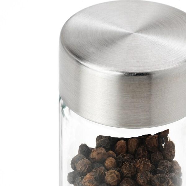 ÖRTFYLLD Tarro para especias, vidrio/ac inox, 10 cl