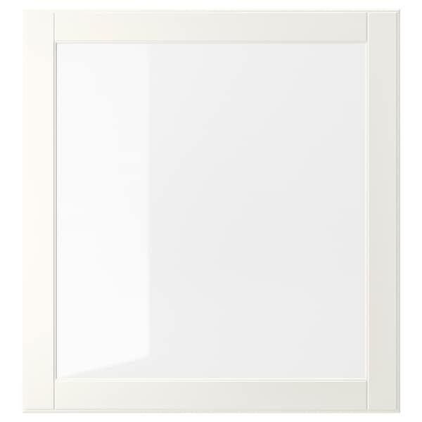 OSTVIK Puerta de vidrio, blanco/vidrio incoloro, 60x64 cm