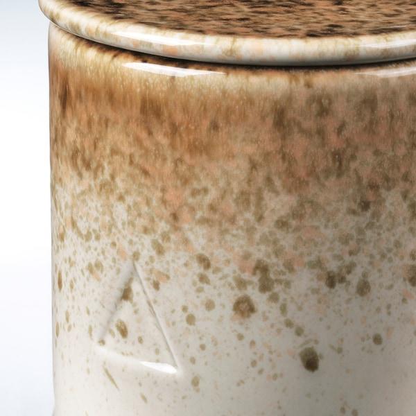 OSYNLIG Vela perfumada&portavela+tapa, Granada y ámbar/blanco marrón, 10 cm