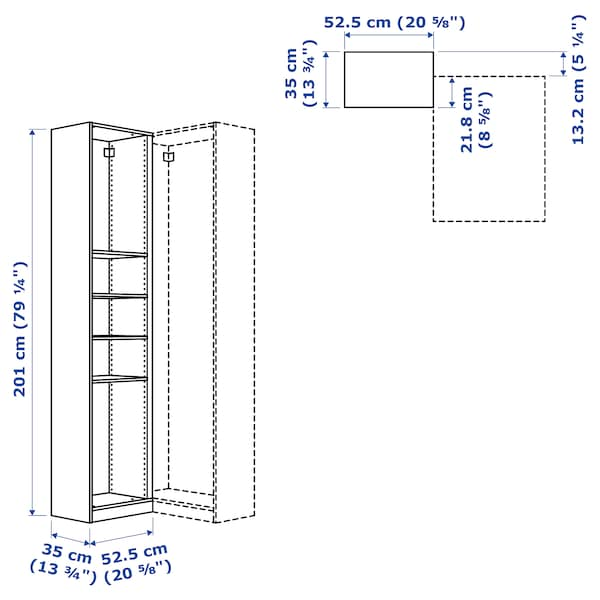 PAX módulo esquina+4 baldas blanco 52.5 cm 53 cm 35.5 cm 201.2 cm 35 cm 201 cm