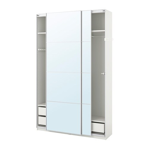 pax armario blanco auli espejo 150 x 44 x 236 cm ikea. Black Bedroom Furniture Sets. Home Design Ideas