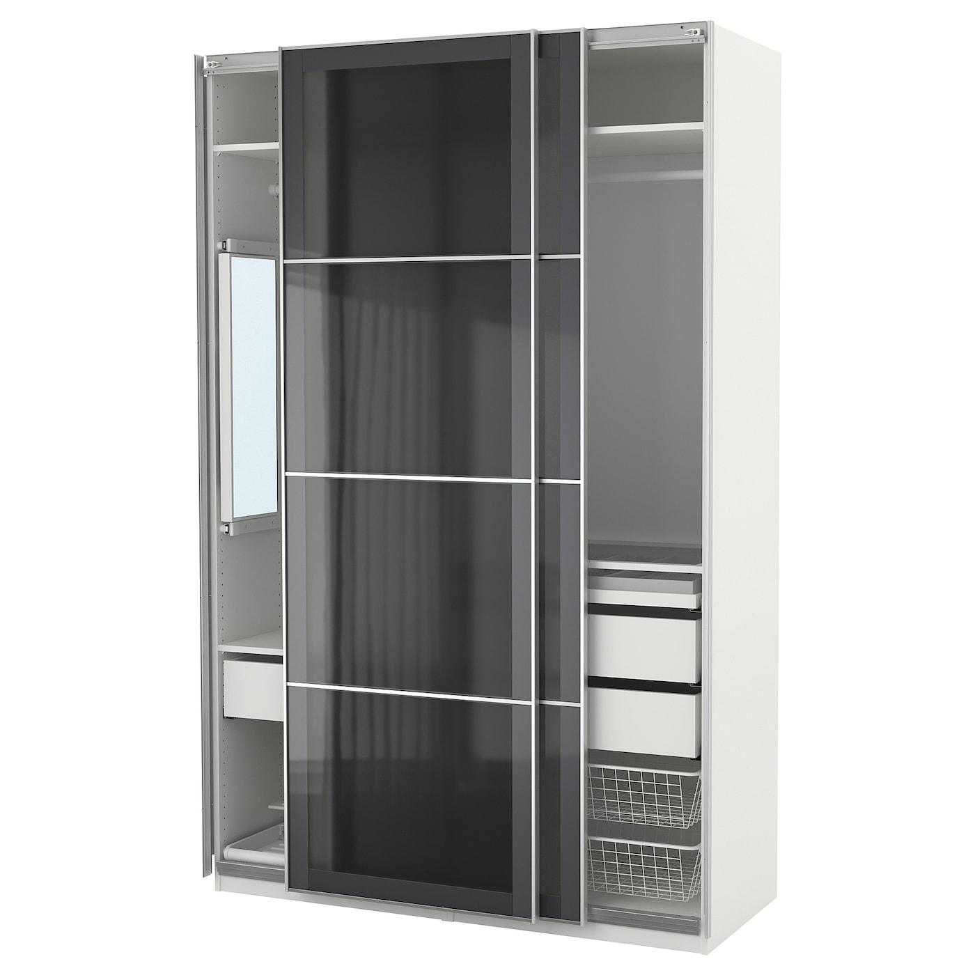 Pax armario blanco uggdal vidrio gris 150 x 66 x 236 cm ikea - Ikea armarios modulares ...