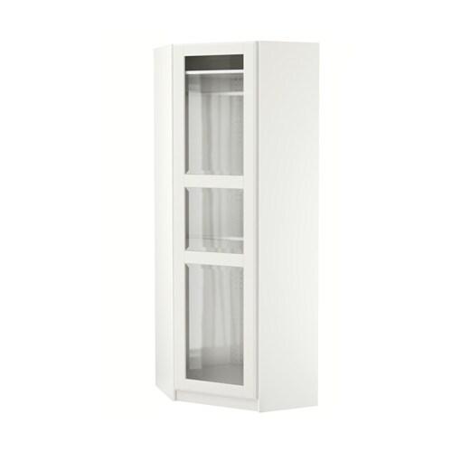 PAX Armario esquina - Tyssedal blanco/vidrio, blanco, 73/73x201 cm ...