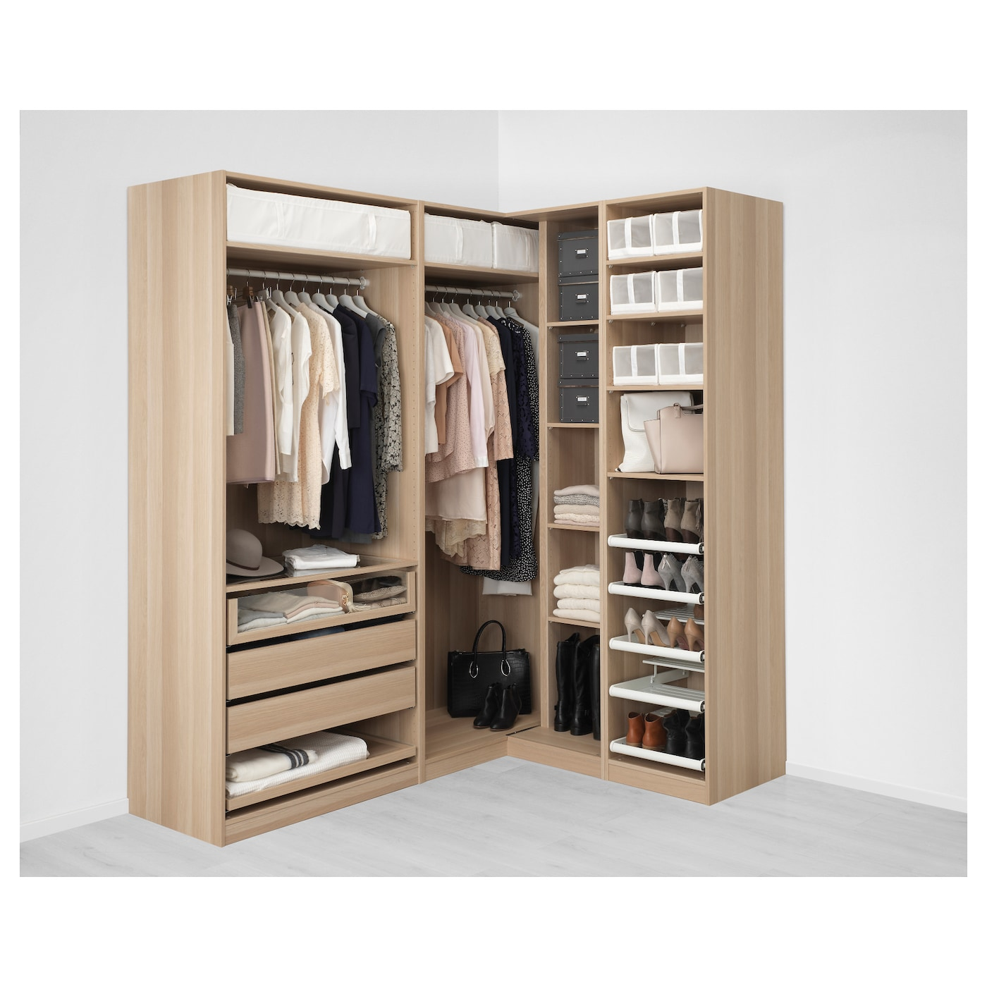pax armario esquina efecto roble tinte blanco nexus vikedal 210 160 x 236 cm ikea. Black Bedroom Furniture Sets. Home Design Ideas