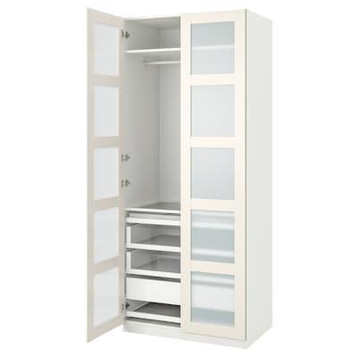 PAX / BERGSBO Combinación armario, blanco/vidrio esmerilado, 100x60x236 cm