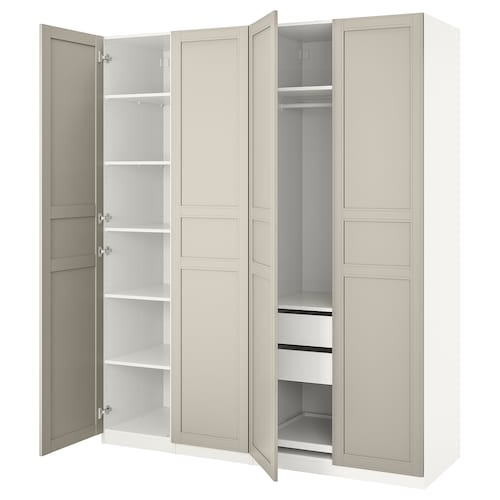 PAX armario blanco/Flisberget beige claro 200 cm 60 cm 236.4 cm 236 cm