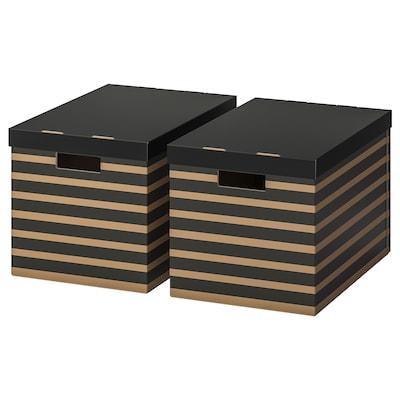 PINGLA Caja con tapa, negro/natural, 56x37x36 cm