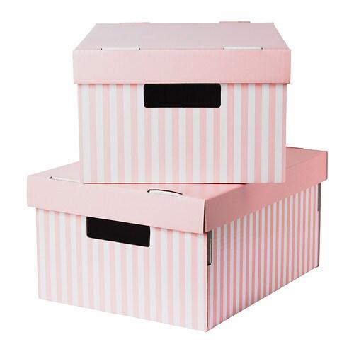 Pingla caja con tapa rosa 28x37x18 cm ikea - Cajas de ikea ...