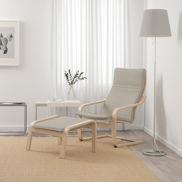 POÄNG Sillón, chapa roble tinte blanco/Knisa beige claro