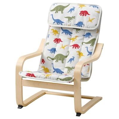 POÄNG Sillón para niños, chapa abedul/Medskog motivo dinosaurio