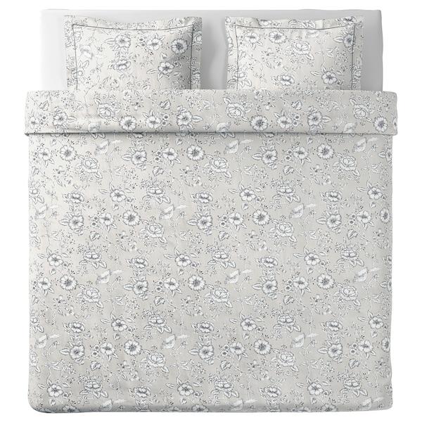 PRAKTBRÄCKA Funda nórdica y 2 fundas almohada, gris claro/blanco, 240x220/50x60 cm