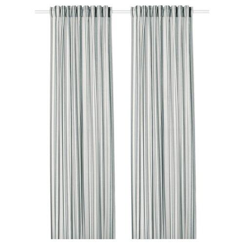 PRAKTKLOCKA Cortina, 1par, gris, rayas, 145x300 cm IKEA
