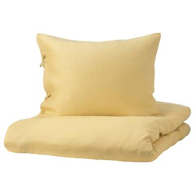 PUDERVIVA Funda nórdica y funda de almohada, amarillo claro, 150x200/50x60 cm