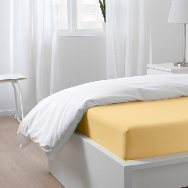 PUDERVIVA Sábana bajera ajustable, amarillo claro, 90x200 cm