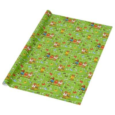 PURKEN Rollo papel de regalo, animales/motivo balón de fútbol, 3.0x0.7 m