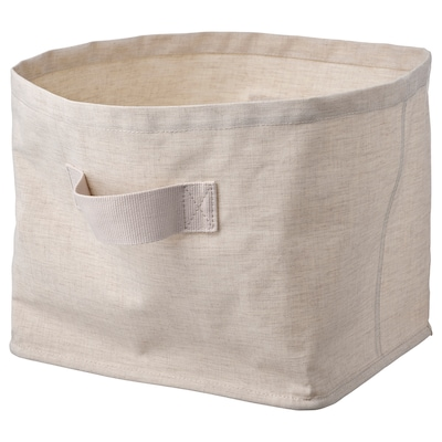 PURRPINGLA Cesta, textil/beige, 30x25x25 cm