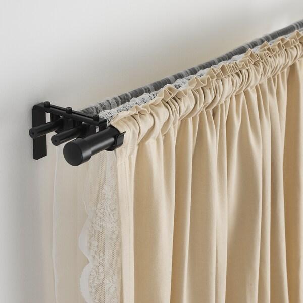 RÄCKA barra de cortina negro 120 cm 210 cm 19 mm 5 kg
