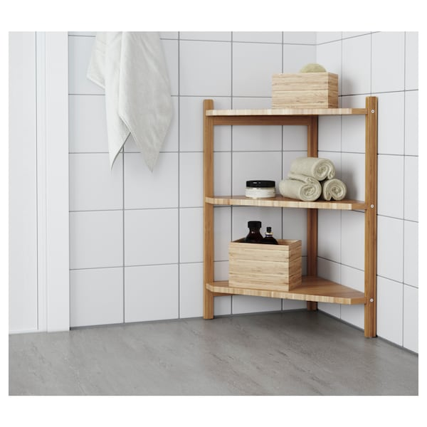 RÅGRUND Estantería esquina para baño, bambú, 34x60 cm